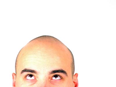 Bald head looking up